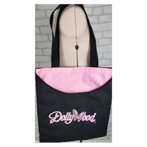Dollywood Black Pink Embroidered Travel Tote